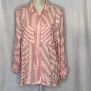 Coral and white stripe button up